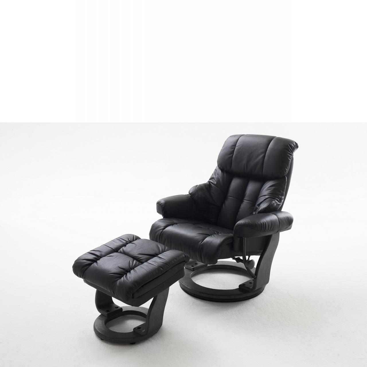 Relaxsessel Calgary schwarz Echtleder 360° drehbar