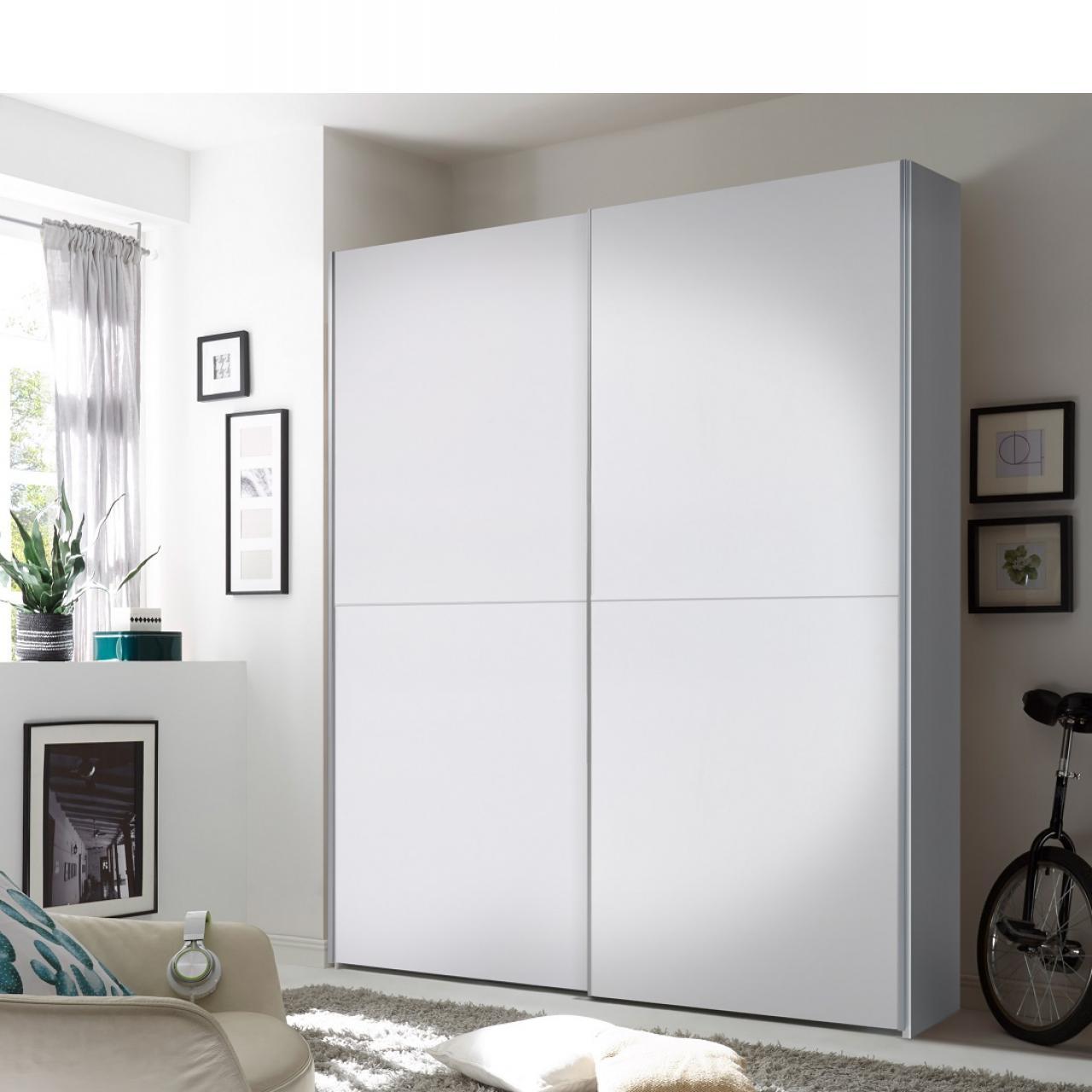 Schwebetürenschrank Puls Weiß 2 Türen MDF Schrank Schlafzimmer Kleiderschrank