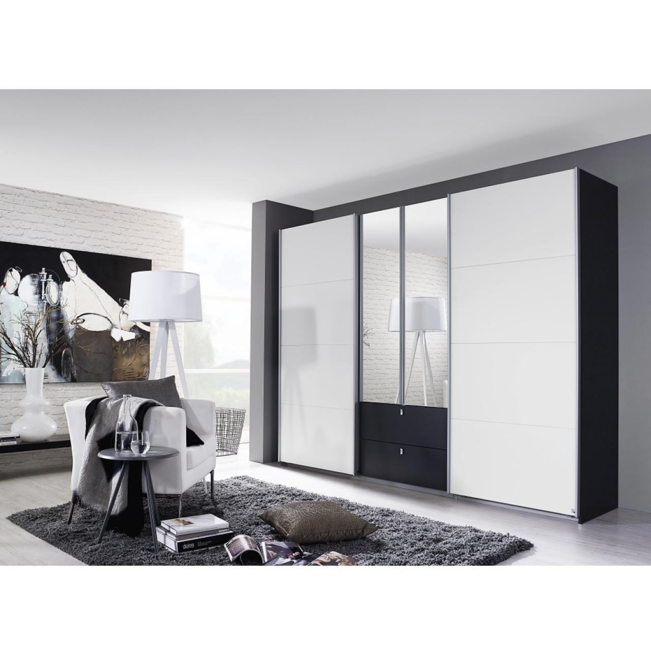 Kombischwebetürenschrank - Kombino - Weiß / Grau