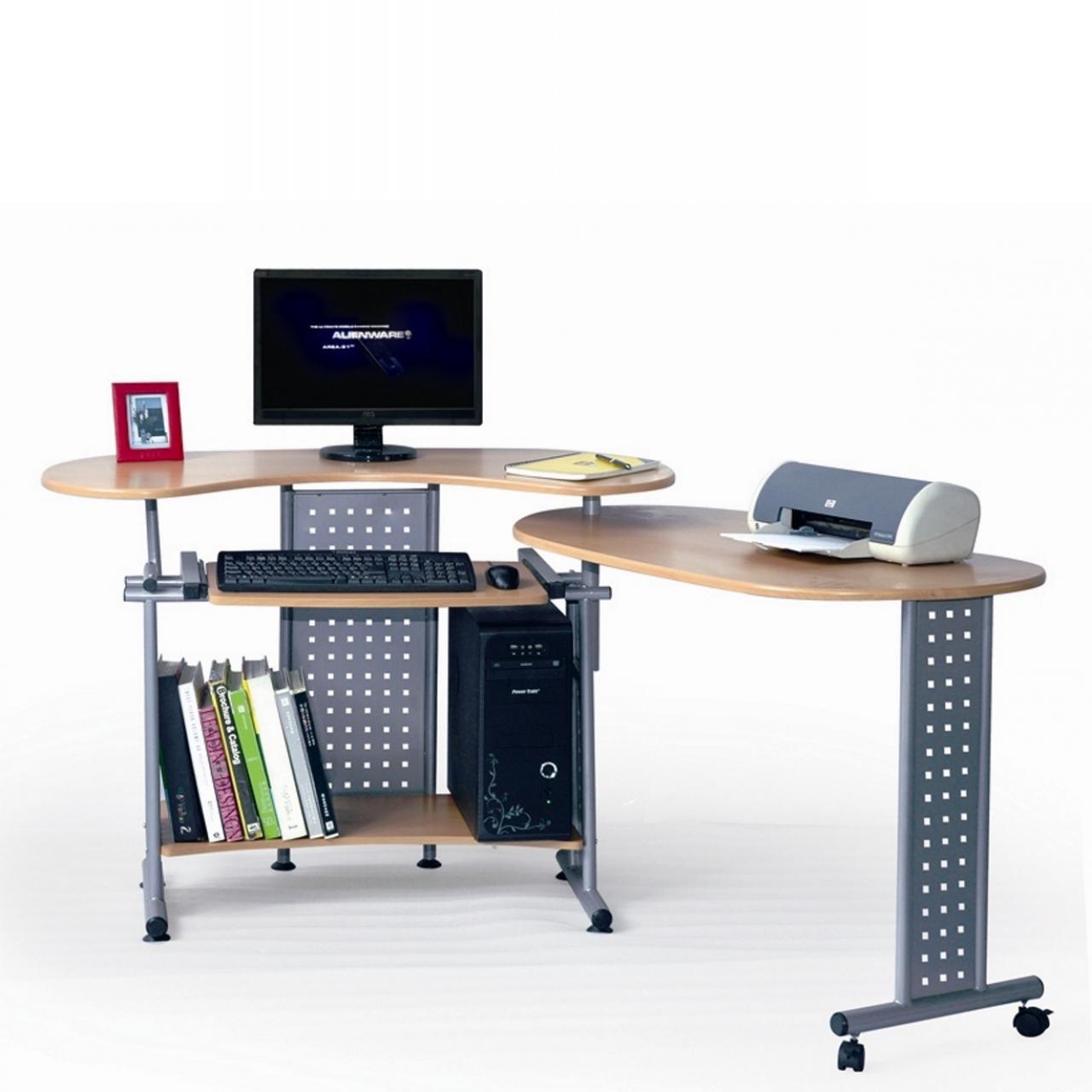 Computertisch Twin - Buche/silber
