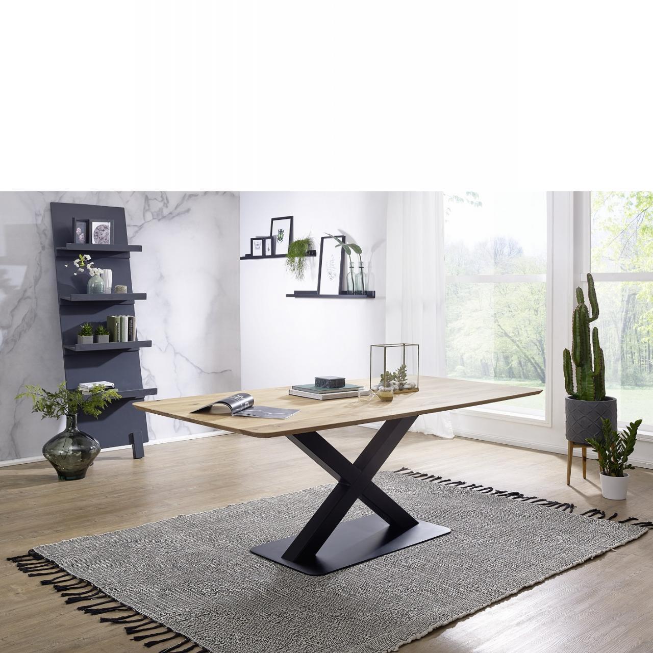 Esstisch TI-0540 Wildeiche Geölt Massiv 200x100 Küchentisch Metall Schwarz X-Fuß